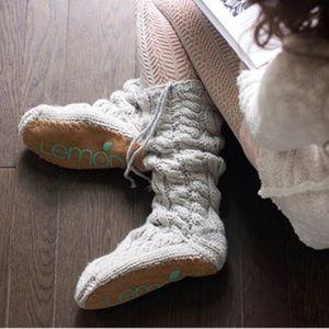 Arctic Cushion Cable-Knit Mukluk Slipper Socks